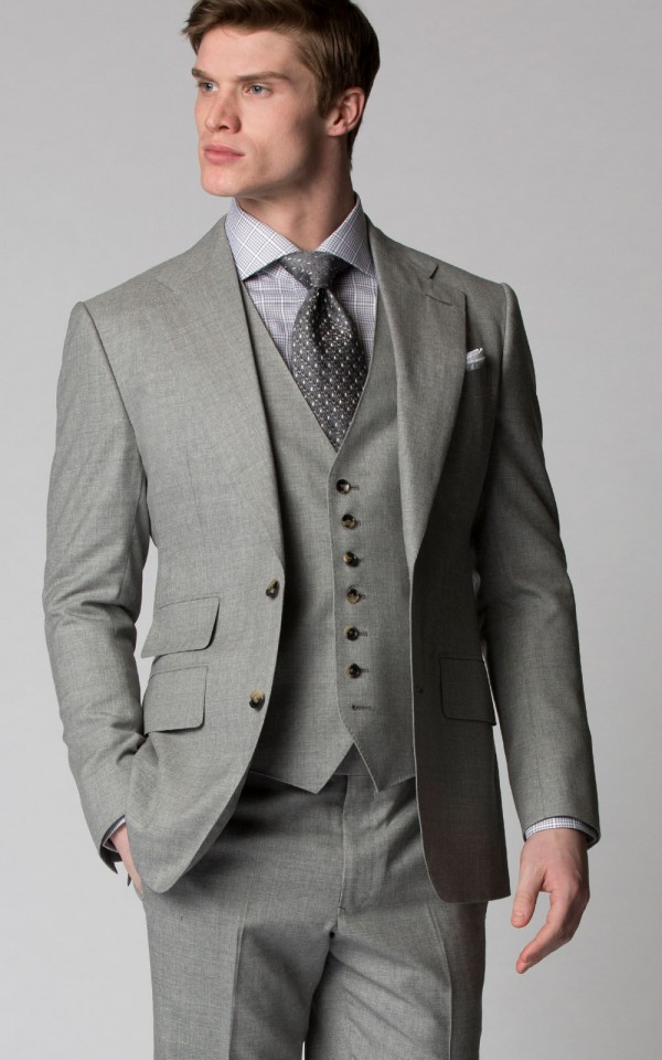 Light Grey Sharkskin Bespoke Suit