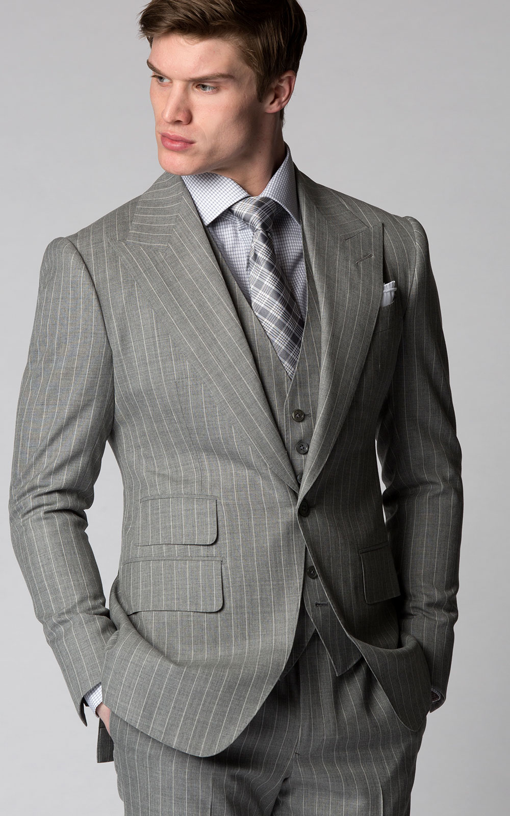LIGHT GREY PINSTRIPE SUIT