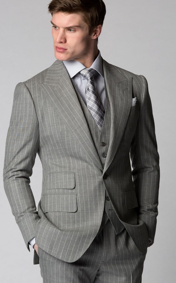 Light Grey Pinstripe Bespoke Suit