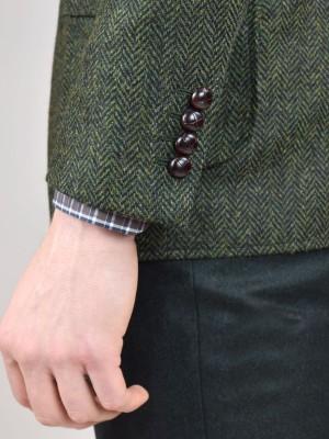 Dark Olive Herringbone Bespoke Hunting Jacket