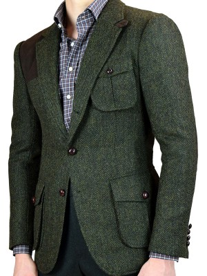 Forest Green Herringbone Bespoke Hunting Jacket