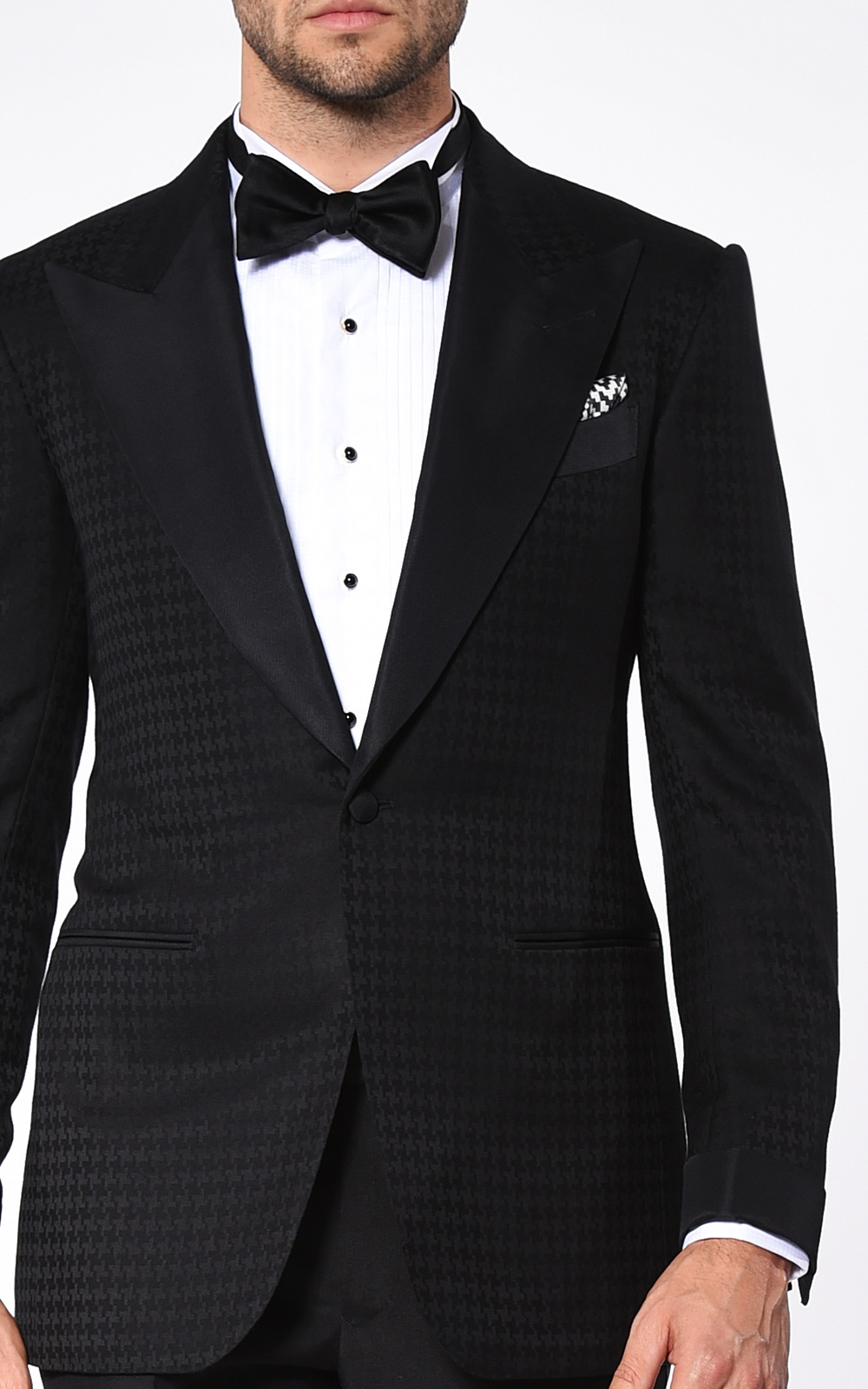 BLACK HOUNDSTOOTH SIGNATURE GROSGRAIN 1-BUTTON TUXEDO