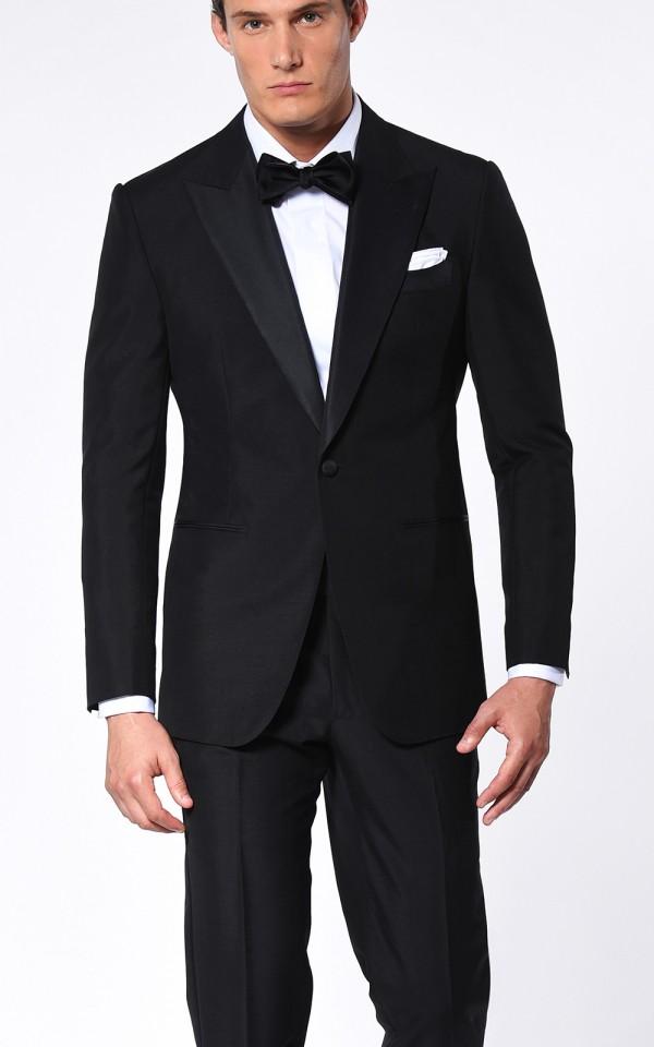 Black Mohair Classic Grosgrain Bespoke Tuxedo