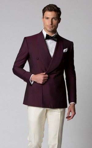 Berry Mohair Bespoke Dinner Jacket
