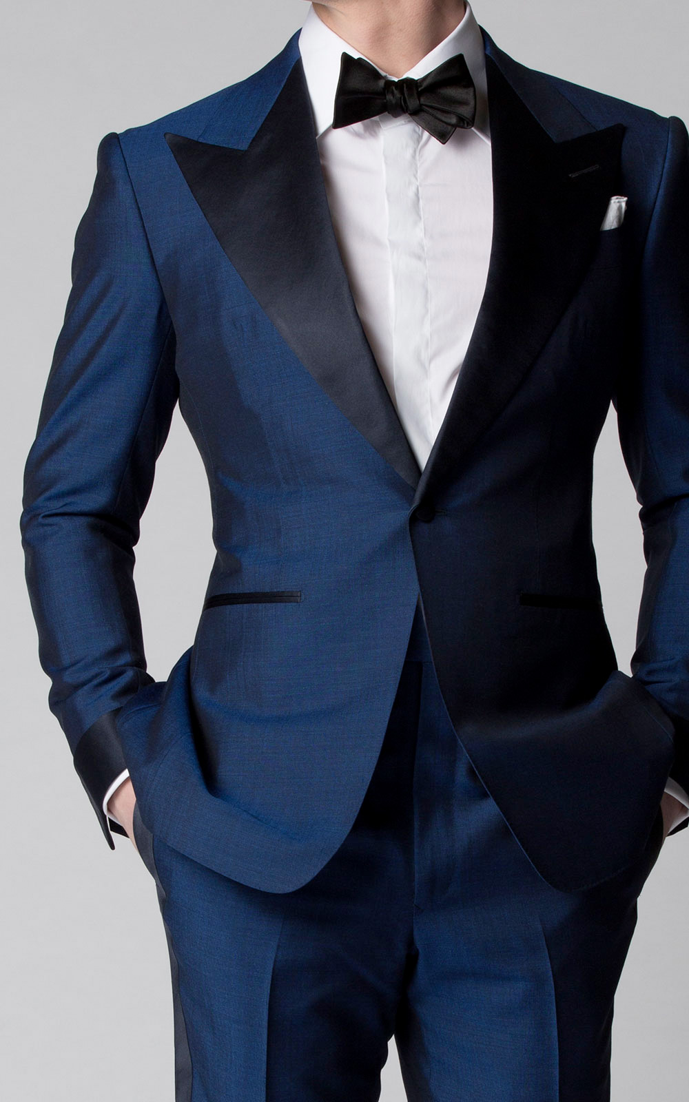 French Blue Mohair & Silk Bespoke Dinner Jacket