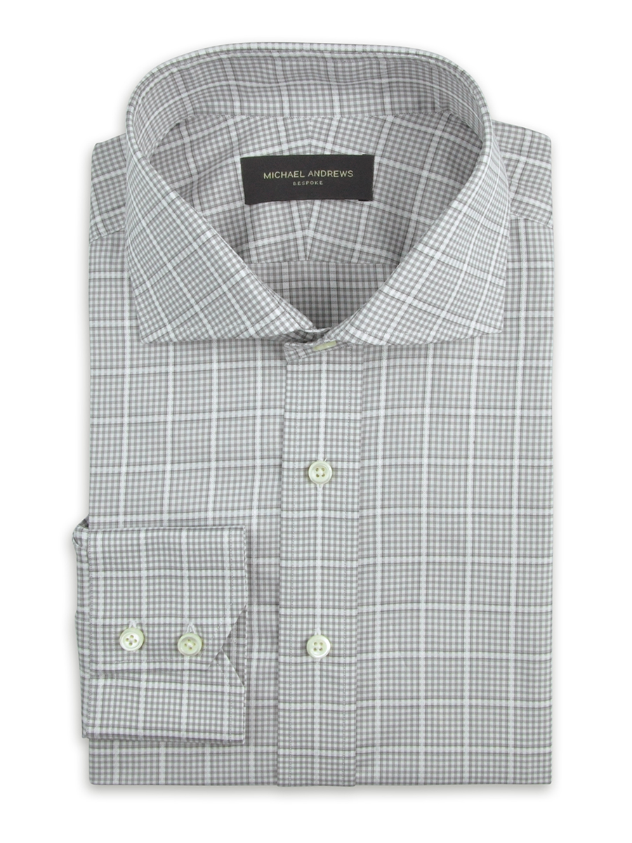 Grey Large Scale Windowpane Check Cutaway Collar Shirt