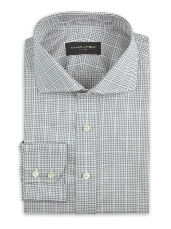 Grey Large Scale Windowpane Check Cutaway Collar Shirt