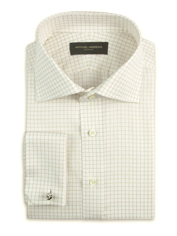 Light Beige Textured Graph Check Italian Collar Shirt