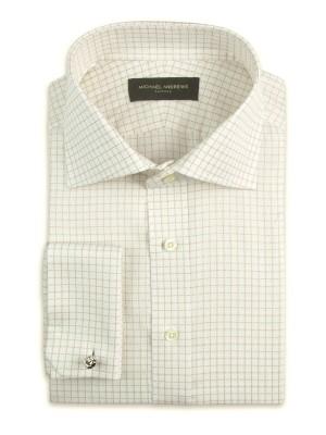 Light Beige Textured Graph Check Italian Collar Shirt