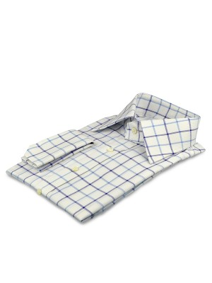 Blue Textured Large Scale Tattersall Traditional Collar Shirt
