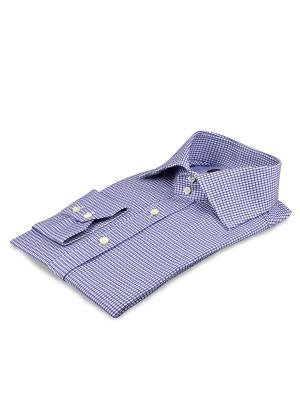 Blue Textured 3D Houndstooth Italian Collar Shirt