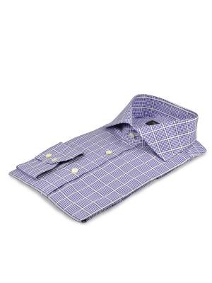 Blue Large Scale Windowpane Cutaway Collar Shirt
