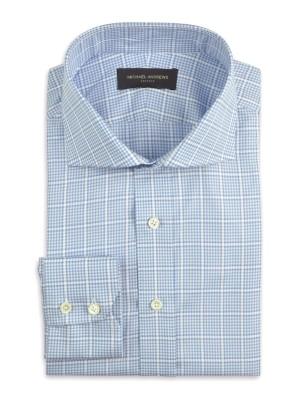 Light Blue Large Scale Windowpane Cutaway Collar Shirt