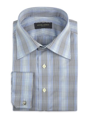 BLUE GRADATING GRAPHIC PLAID TRADITIONAL COLLAR SHIRT