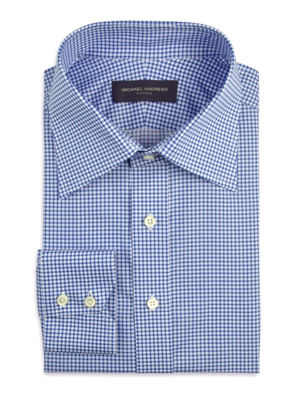 Blue Printed Dot Motif Italian Collar Shirt