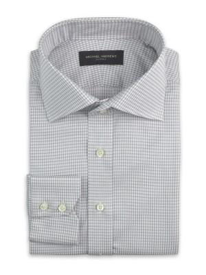 Grey Textured 3D Houndstooth Italian Collar Shirt
