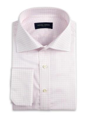 Light Pink Textured Graph Check Italian Collar Shirt