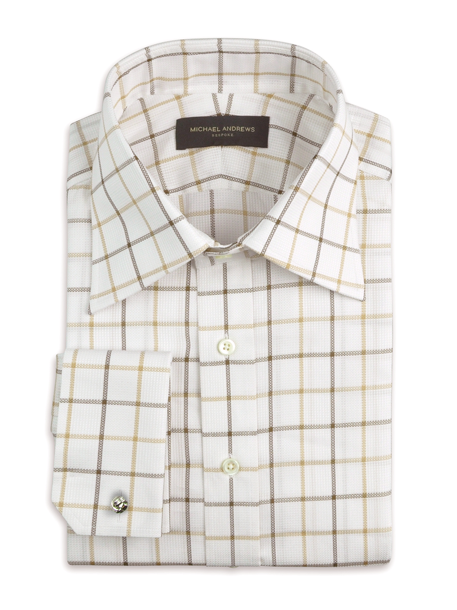 Brown Textured Large Scale Tattersall Traditional Collar Shirt