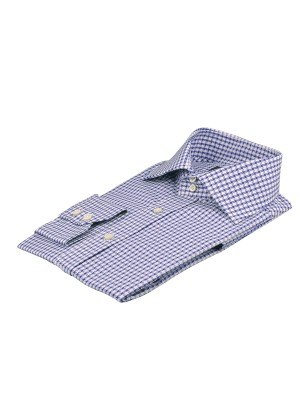BLUE TEXTURED GRAPHIC HOUNDSTOOTH ITALIAN COLLAR SHIRT