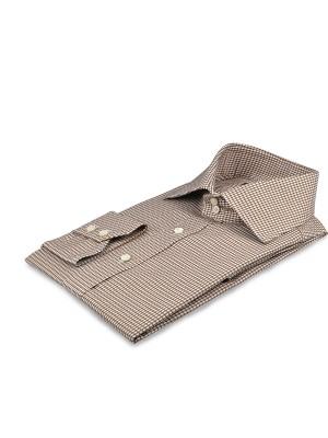 Brown Textured Houndstooth Italian Collar Shirt