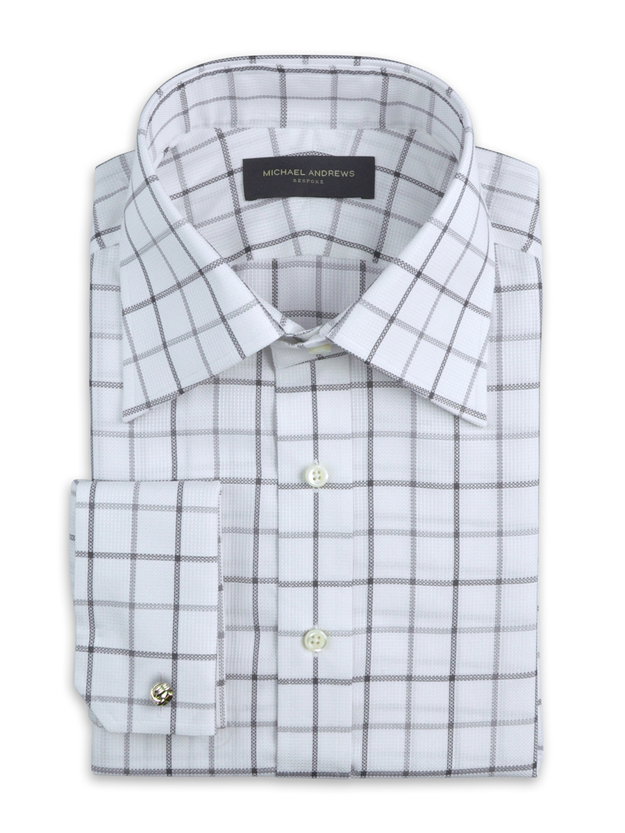 Grey Textured Large Scale Tattersall Italian Collar Shirt