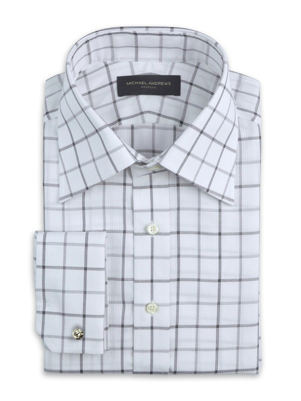 GREY TEXTURED LARGE SCALE TATTERSALL TRADITIONAL COLLAR SHIRT
