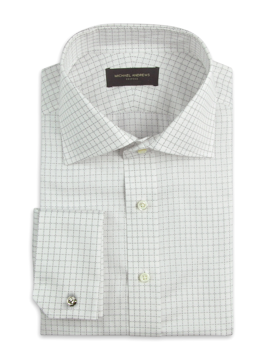 Light Grey Textured Graph Check Italian Collar Shirt