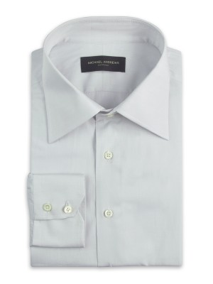 Light Grey Poplin Italian Collar Shirt
