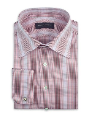 PINK GRADATING GRAPHIC PLAID TRADITIONAL COLLAR SHIRT