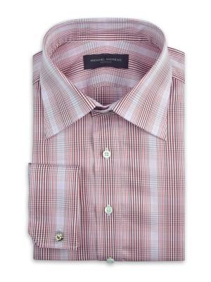 Pink Gradating Graphic Plaid Italian Collar Shirt