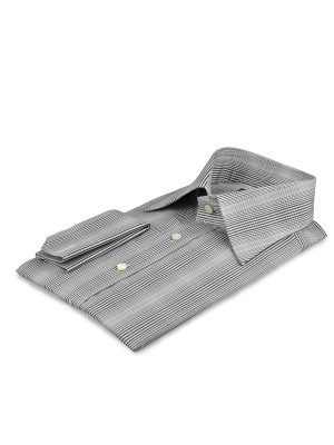 Grey Gradating Graphic Plaid Italian Collar Shirt