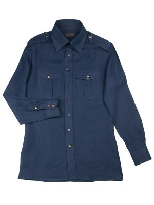 Navy Linen Work Shirt