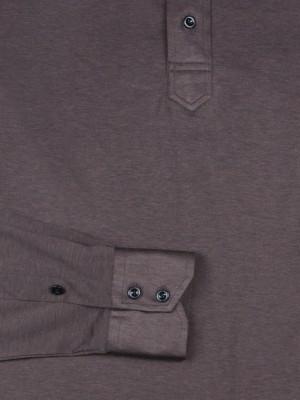 Dark Brown Jersey Long Sleeve Polo Shirt