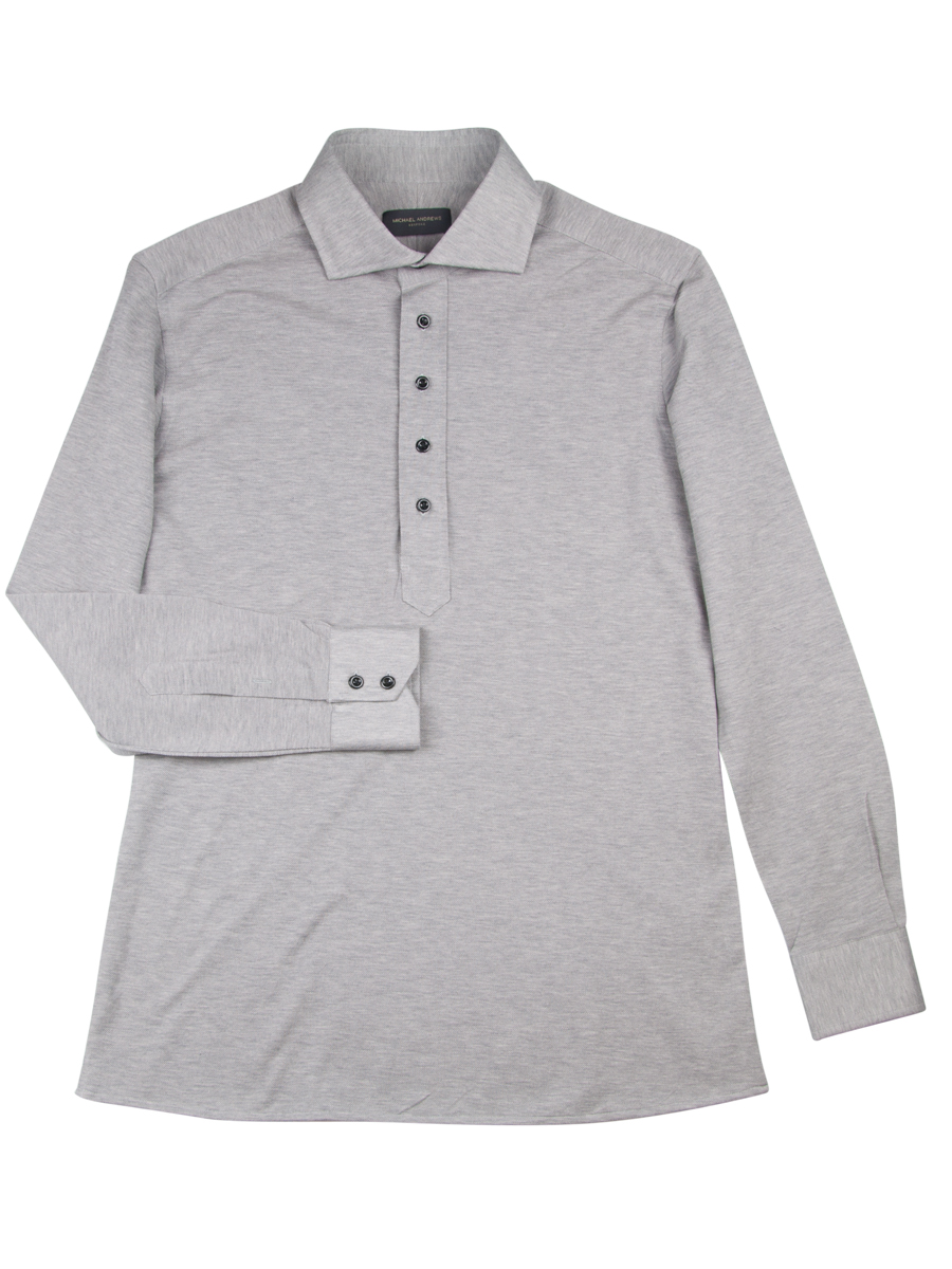 Light Grey Pique Long Sleeve Polo Shirt
