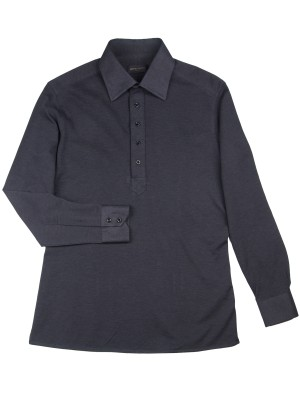 Charcoal Pique Long Sleeve Polo Shirt