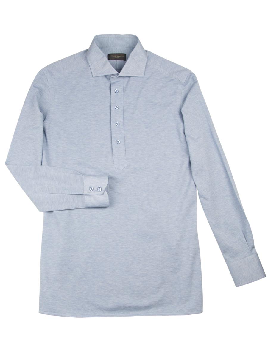 Light Blue Pique Long Sleeve Polo Shirt