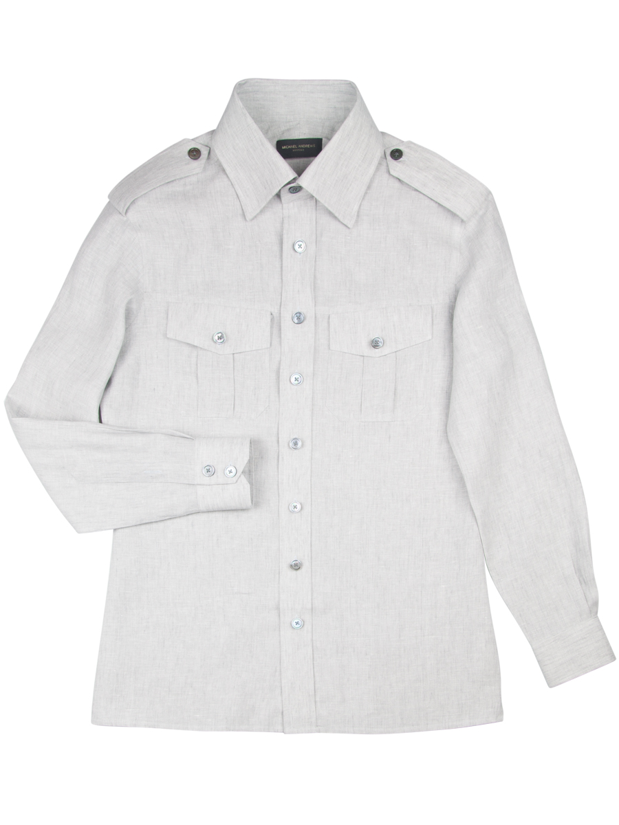 Dove Grey Linen Work Shirt