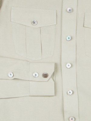 Taupe Linen Work Shirt