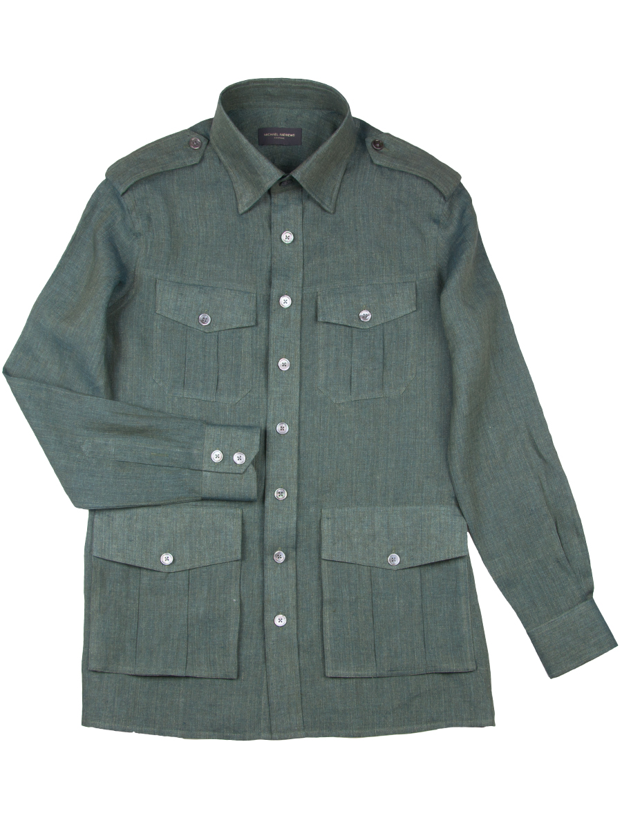 GREEN LINEN SAFARI SHIRT