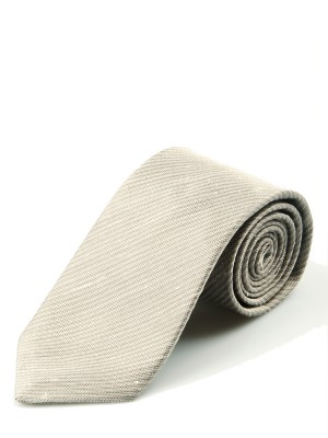 Taupe Shantung Slub Solid Necktie