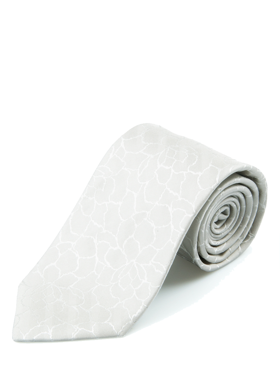 Ivory Ornate Floral Design Silk Tie