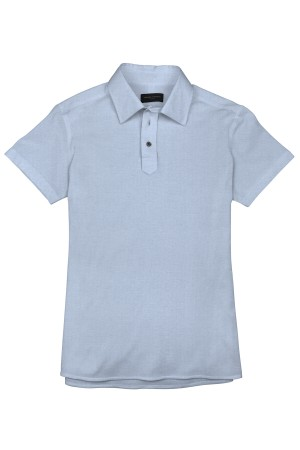 Light Blue Pique Short Sleeve Polo Shirt