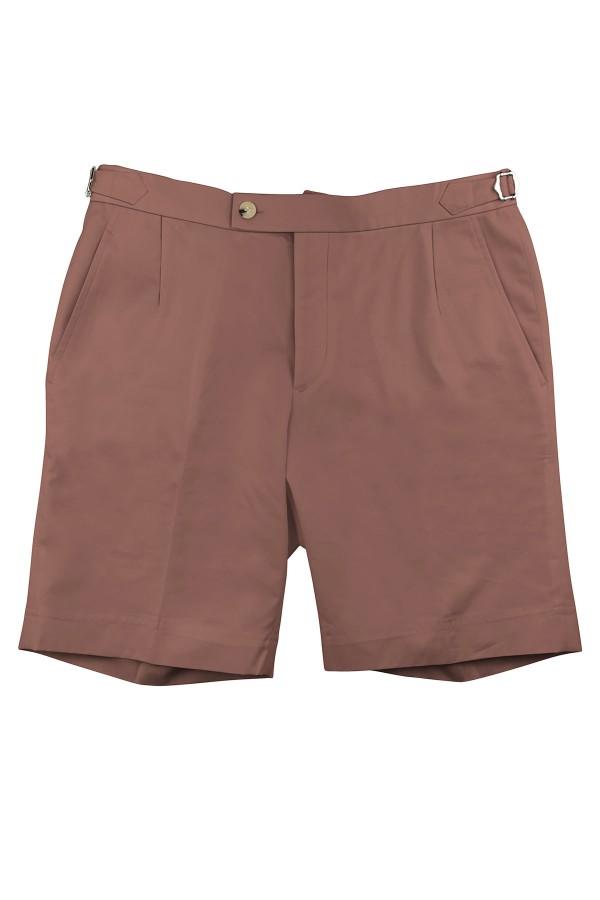 Burnt Salmon Cotton Shorts