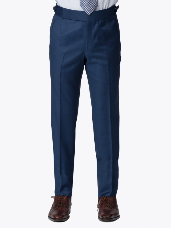 MARINE BLUE SHARKSKIN HOOK & EYE TROUSER