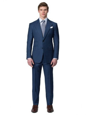Marine Blue Sharkskin Bespoke Suit