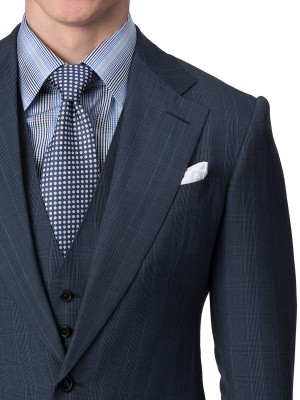 Blue Melange Glen Check Bespoke Suit