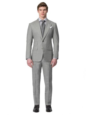 LIGHT GREY SHARKSKIN HOOK & EYE TROUSER