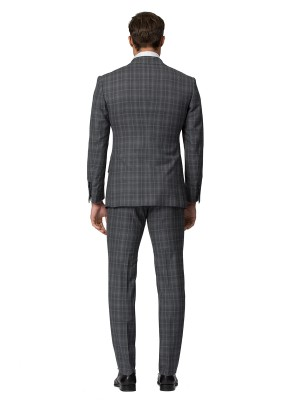 Medium Grey Complex Windowpane Bespoke Suit