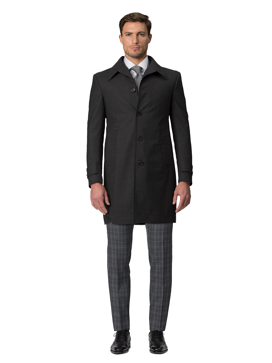 CHARCOAL LORO PIANA TWILL STORM SYSTEM CAR COAT
