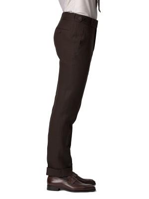 Dark Brown Linen Bespoke Trouser